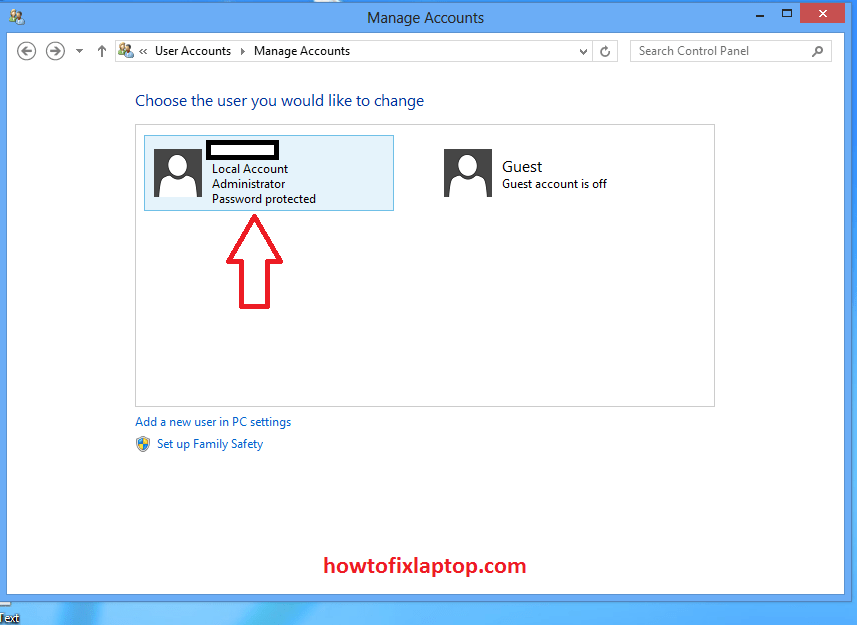 Local account and admin account in manage accounts Windows 8
