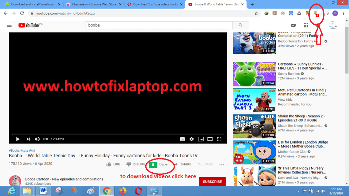 Download any YouTube video in Google Chrome. Howtofixlaptop.com