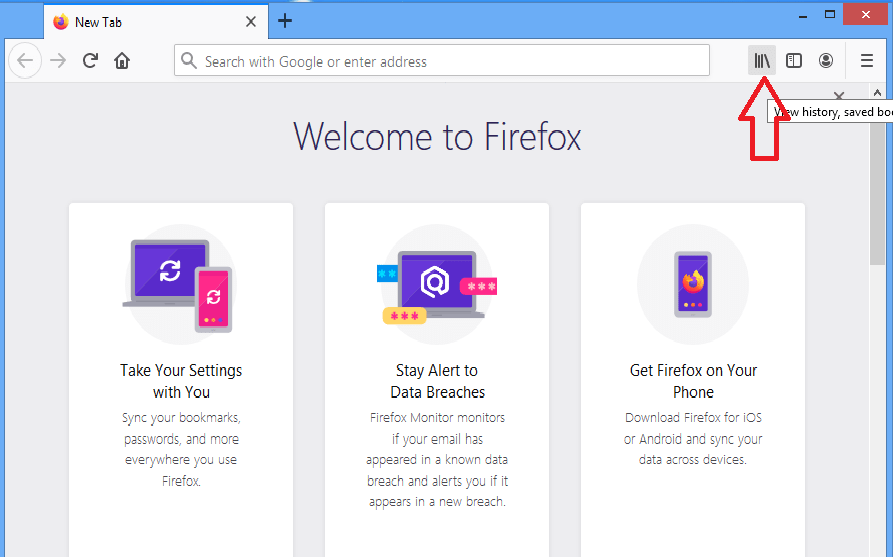 Firefox web browser Clear history