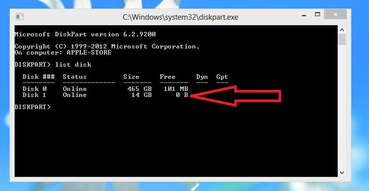 Windows Command Prompt Diskpart