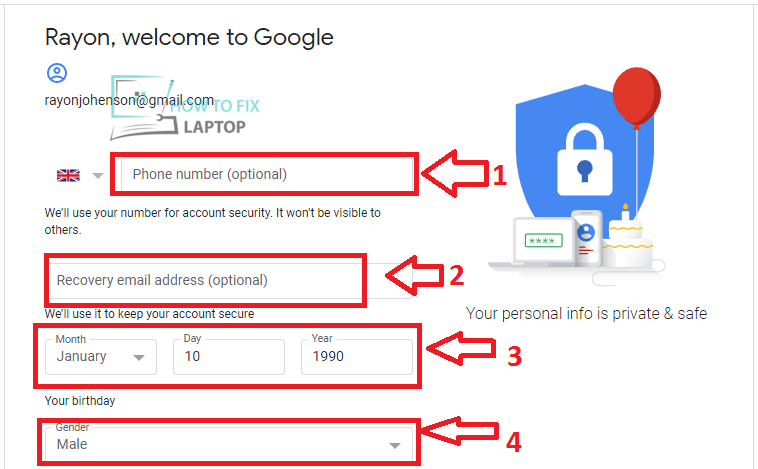 Gmail Account Form / Sign Up for Google Account