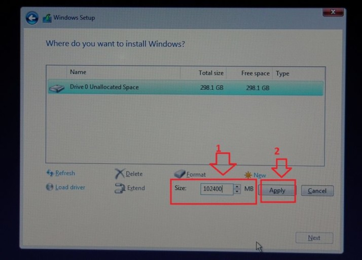 100 GB Windows 10 primary partition