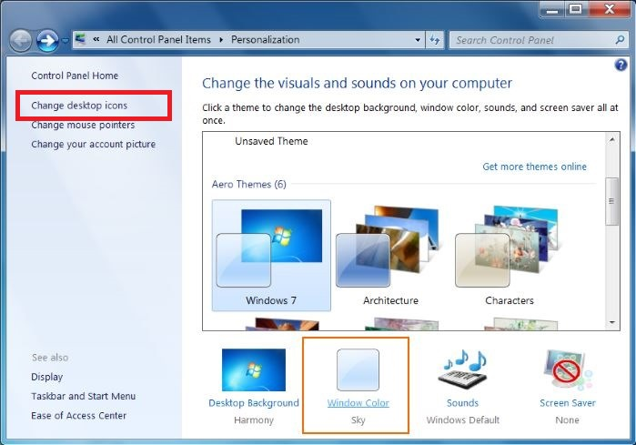 Change Windows 7 Desktop icons settings and Personalize