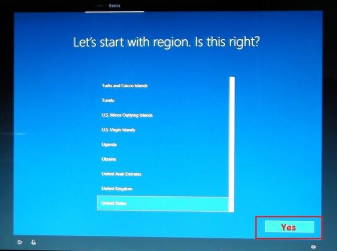Start with region Windows 10