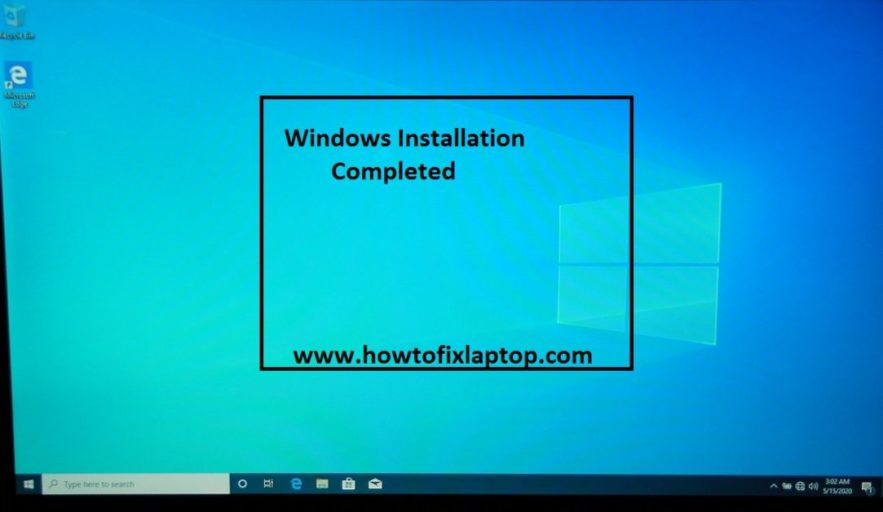 Windows 10 64 bit professional installation completed