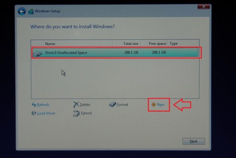 Windows installation Unallocated Space