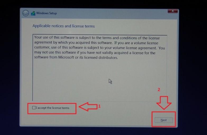 Windows Setup License terms