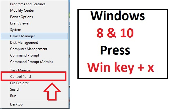 Windows key+x to access menu