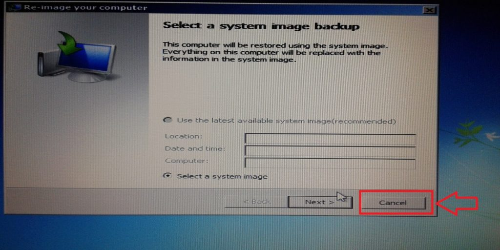 Cancel Windows 7 system image backup