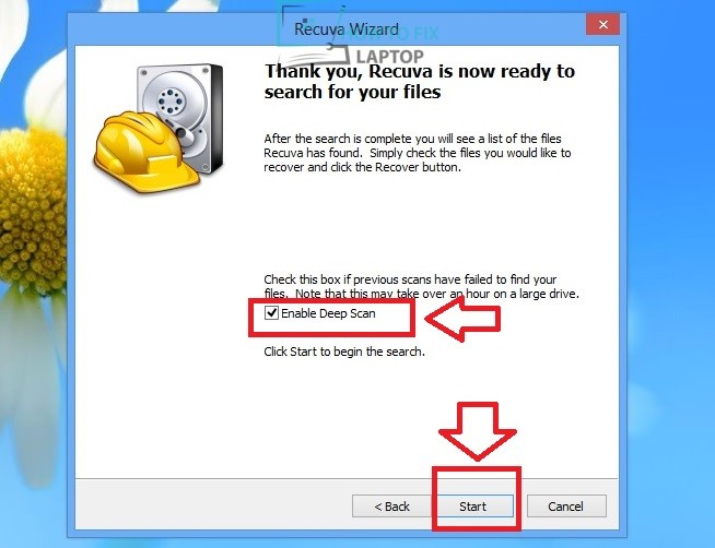 Enable deep scan for data recovery — How to fix laptop