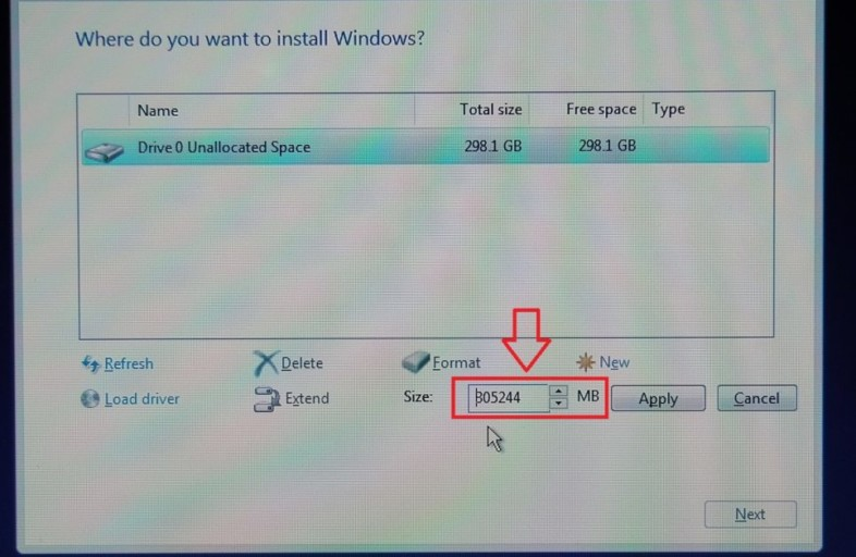 Install Windows in Unallocated Space