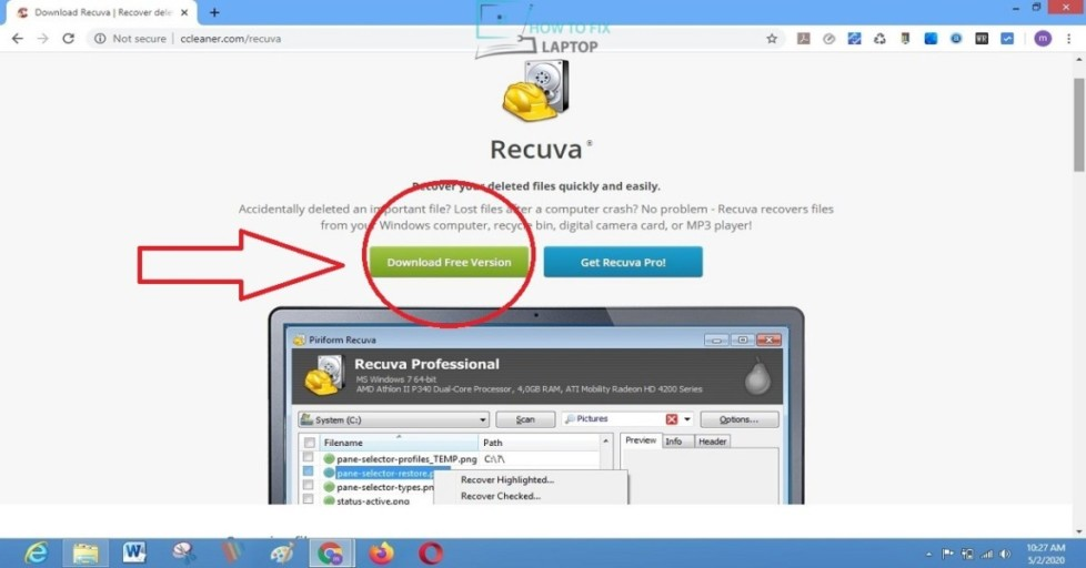 Recuva data recovery software -how to fix laptop