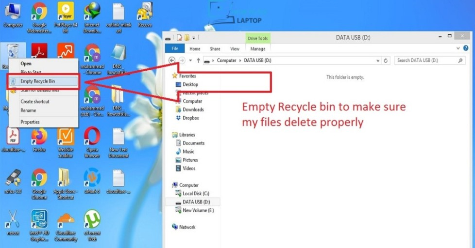 Empty Recycle to delete files permanently — How to fix laptop