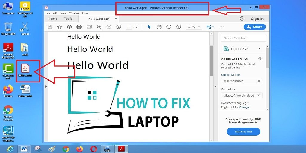 Success in converting Word to PDF.